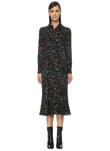Beymen Club Çiçekli Gömlek Elbise Siyah